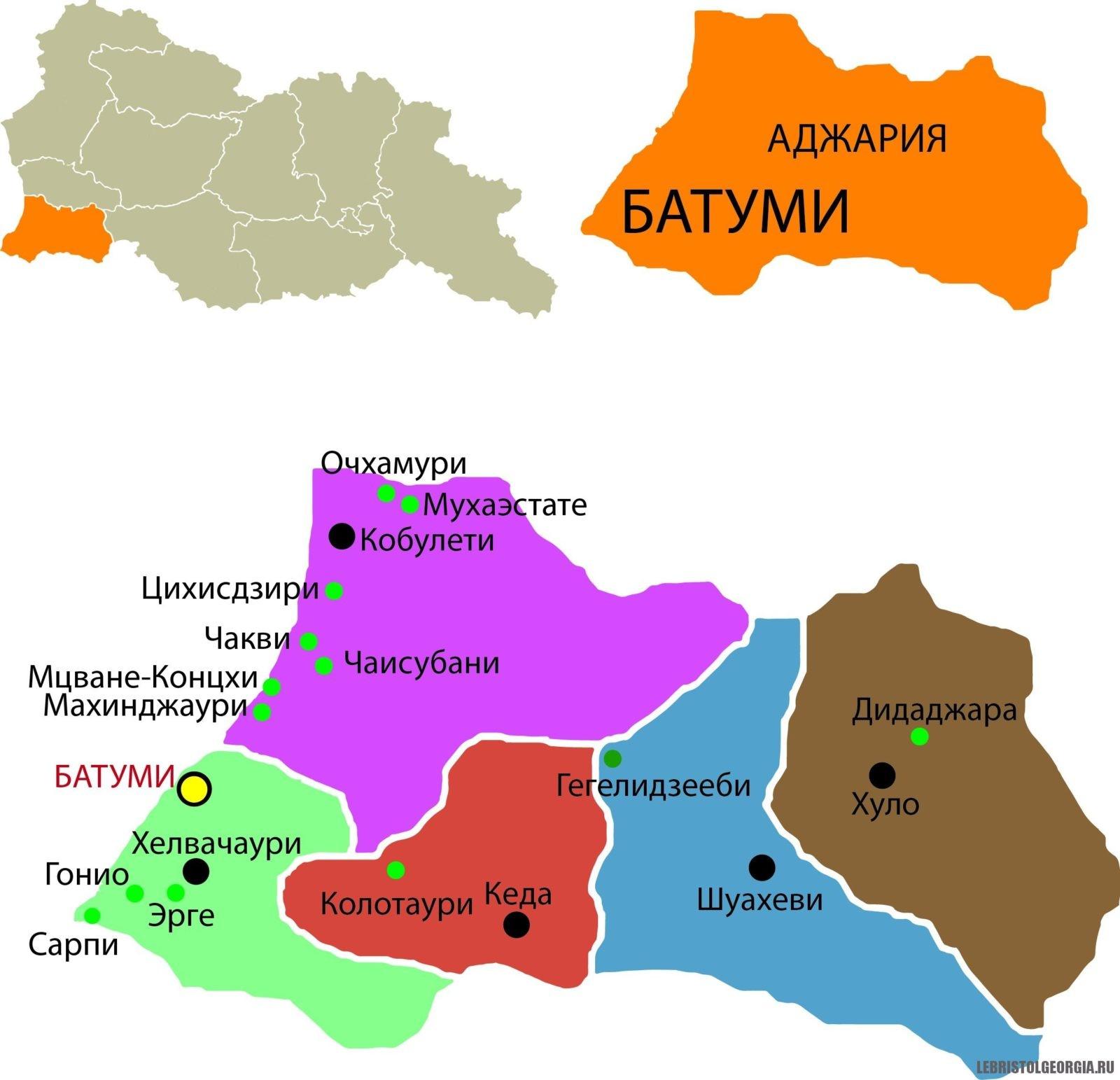 Аджария на карте