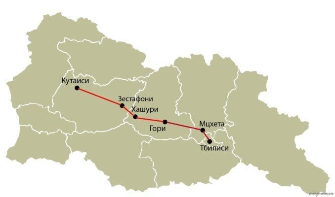 Маршрут поезда Тбилиси -Кутаиси - Тбилиси